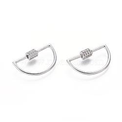 laiton micro pavé zircone cubique vis verrouillage mousqueton porte-clés, charm mousqueton, pour la fabrication de colliers, demi-tour, platine, 16x28x2 mm(ZIRC-I031-14P)