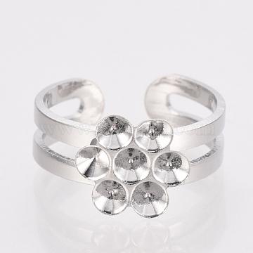 Adjustable Brass Finger Ring Rhinestone Settings Components, Platinum, Fit for 2.5mm Rhinestone, 14~15mm(KK-T025-44P)