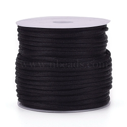 Nylon Cord, Satin Rattail Cord, for Beading Jewelry Making, Chinese Knotting, Black, 1mm, about 32.8 yards(30m)/roll(X-NWIR-L006-1mm-02)