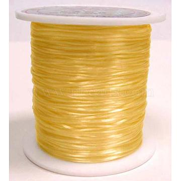 Flat Elastic Crystal String, Elastic Beading Thread, for Stretch Bracelet Making, Dyed, Gold, 0.8mm, about 65.61 yards(60m)/roll(X-EW023-1)