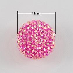 Твердый HotPink цвет AB смолы горный хрусталь мяч шарики для коренастый ожерелье материалы, с желе внутри стиля, 14x12 мм, отверстие : 2 мм(X-RESI-S253-14mm-GAB3)