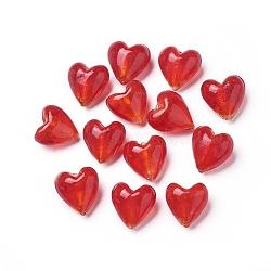 Perles en verre d'argent feuille manuelles, cœur, rouge, 20x20x13mm, Trou: 2mm(X-FOIL-R050-20x13mm-1)