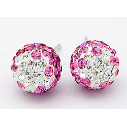 Austrian Crystal Ball Ear Studs, with Sterling Silver Pins, Mixed Color, 19x8mm, Pin: 0.8mm(X-EJEW-Q008-6)