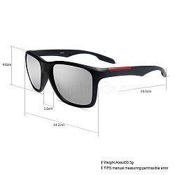 Unisex Outdoor Sunglasses, Plastic Frames and Resin Lenses, Rectangle, Black, Silver, 14.4x5.2cm(SG-BB27709-2)