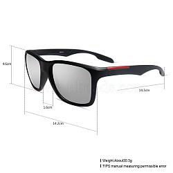 унисекс наружные солнцезащитные очки, пластиковые рамы и смоляные линзы, прямоугольник, черный, серебро, 14.4x5.2 cm(SG-BB27709-2)
