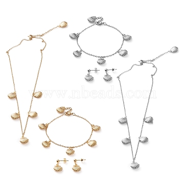 304 Stainless Steel Jewelry Sets, Cable Chains Pendant Necklaces & Stud Earrings & Bracelets, with Lobster Claw Clasps, Shell Shape, Mixed Color, 17.71 inches(45cm), 7.63 inches(19.4cm), 20.5mm, Pin: 0.7mm(SJEW-Z001-07)