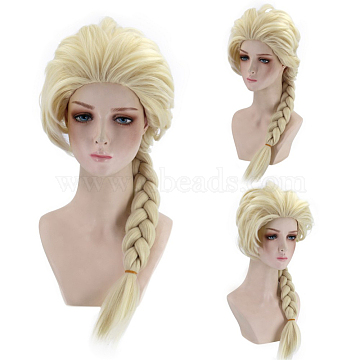 Princess Long Blonde Cosplay Party Wigs, for Kids, Synthetic, Heat Resistant High Temperature Fiber, 26inches(65cm)(OHAR-I015-12)