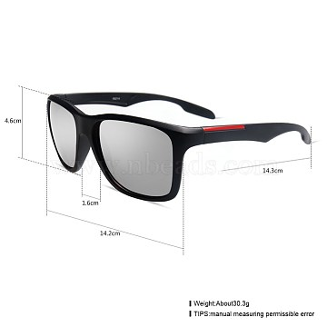 Unisex Outdoor Sunglasses, Plastic Frames and Resin Lenses, Rectangle, Black, Silver, 14.4x5.2cm(SG-BB27709-2)