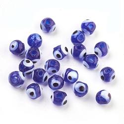 Perles vernissées manuelles, mauvais œil, bleu, 6mm, Trou: 2mm(X-DT251J-3)