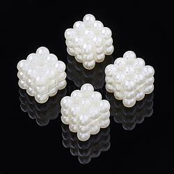 Perles de nacre en plastique ABS, perles combinées, cube, blanc crème, 10~10.5x10~10.5x10~10.5 mm, trou: 1.8 mm; environ 745 pcs / 500 g(OACR-S020-37)