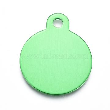 pendentifs en aluminium, estampillage d'une étiquette vierge, plat rond, springgreen, 31x25x1 mm, trou: 3 mm(ALUM-I002-01C)