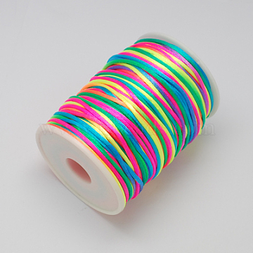 Polyester Cord Rattail Cords, Colorful, 2mm, about 90yards/roll(NWIR-R001-11)