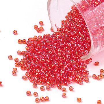 TOHO Round Seed Beads, Japanese Seed Beads, (165) Transparent AB Light Siam Ruby, 15/0, 1.5mm, Hole: 0.7mm, about 3000pcs/10g(X-SEED-TR15-0165)