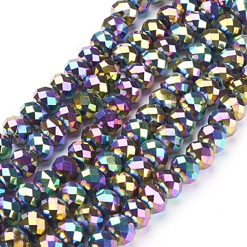 "Electroplate Glass Beads Strands, Faceted, Rondelle, Multi-color Plated, 10x7mm, Hole: 1mm; about 70~72pcs/strand, 18""(X-GR7X10MMY-M)"