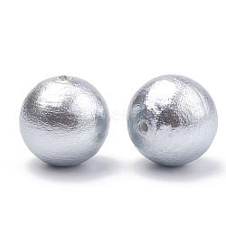 Perles de coton compressées, écologique, teint, rond, gris clair, 18~18.5mm, Trou: 1.6mm(X-WOVE-S114-18mm-09)