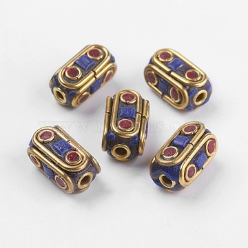 Handmade Indonesia Beads, with Brass Findings, Nickel Free, Raw(Unplated), Cuboid, Colorful, 15x7.5x8.5~9mm, Hole: 2mm(IPDL-E008-09A)