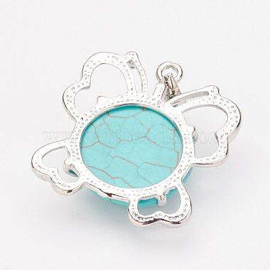 Synthetic Turquoise Pendants and Dangle Earrings Jewelry Sets(SJEW-F145-01P)-2