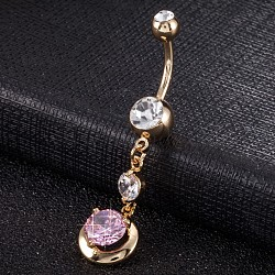 Piercing Jewelry, Environmental Brass Cubic Zirconia Navel Ring, Belly Rings, with Use Stainless Steel Findings, Real 18K Gold Plated, Round, Pink, 48x11mm(AJEW-EE0003-27B)