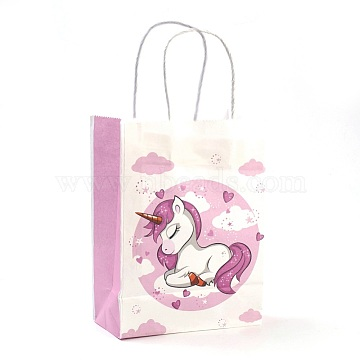 Rectangle Paper Bags, with Handles, Gift Bags, Shopping Bags, Unicorn Pattern, for Baby Shower Party, Plum, 27x21x11cm(AJEW-G019-05M-04)
