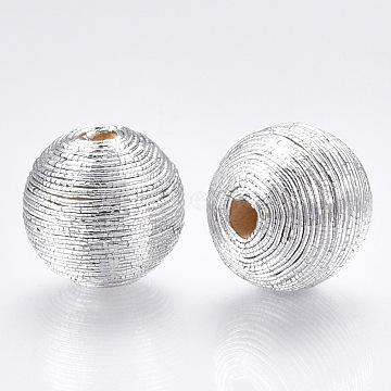 Polyester Cord Fabric Beads, with Wood Inside, Round, Silver, 18~19x17.5~18mm, Hole: 3.5~4mm(WOVE-S117-18mm-06)