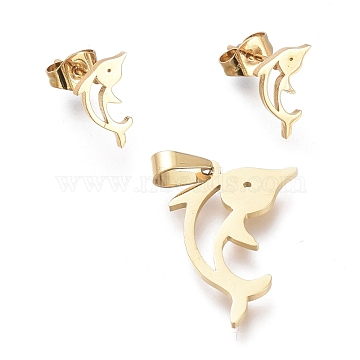 304 Stainless Steel Jewelry Sets, Hollow Pendants and Stud Earrings, with Ear Nuts, Dolphin, Golden, 22x15.5x1mm, Hole: 5x3mm; 11x7mm,  Pin: 0.7mm(SJEW-K154-21G)