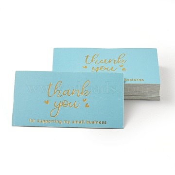 Laser Thank You for Supporting My Small Business Card, for Decorations, Rectangle, Light Blue, Word, 90x50x0.4mm, 50pcs/bag(DIY-L035-018B)