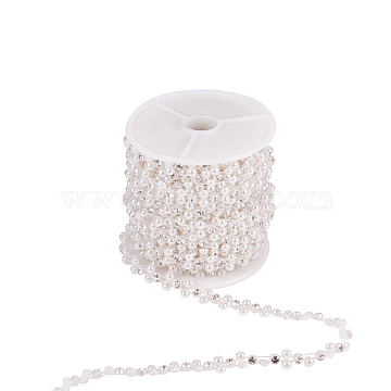 Flower ABS Plastic Imitation Pearl Beaded Trim Garland Strands, with Spool, Glass Rhinestones, for Wedding, White, 9x3mm; about 10yards/roll(CHAC-R001-01)