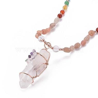 Natural Sunstone Bead Pendant Necklaces(NJEW-K116-A03)-3