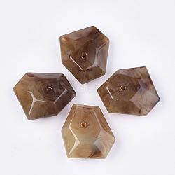 perles acryliques, style de pierres précieuses imitation, facettes, polygone, chameau, 40.5x32x16.5 mm, trou: 2.5 mm(OACR-T011-167A)