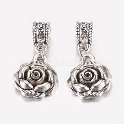 Perles européennes en alliage de style tibétain, Pendentifs grand trou, fleur, argent antique, 26mm, pendentif: 17x14x4 mm, Trou: 5mm(PALLOY-F199-27AS)