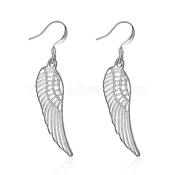 Brass Dangle Earrings, Wing, Clear, Silver Color Plated, 40x9mm(EJEW-BB31743)