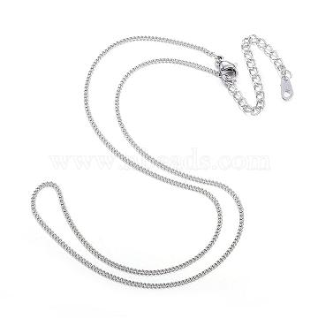 304 Stainless Steel Necklaces, Curb Chain Necklaces, Stainless Steel Color, 16.14inches(41cm)(NJEW-E080-11P)