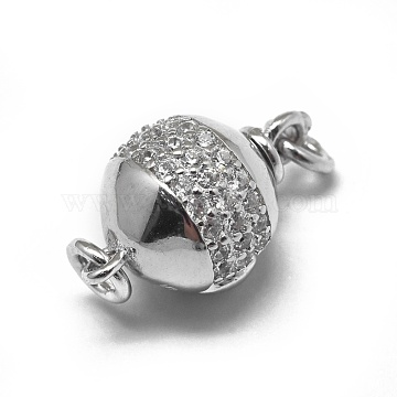 Platinum Clear Round Sterling Silver Clasps