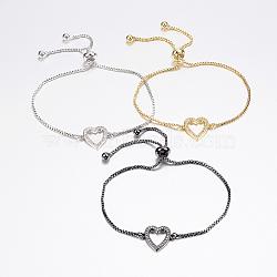 """Bracelets bolo réglables en laiton, Bracelets coulissants, avec zircone et chaînes, cœur, couleur mixte, 10-1/4"""" (260 mm)(BJEW-P200-03)"""