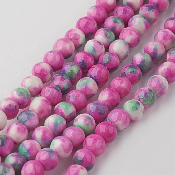 4mm DeepPink Round White Jade Beads
