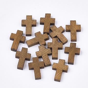Wooden Pendants, Dyed, Cross, Camel, 21~22x14~15x4~5mm, Hole: 1.8mm(X-WOOD-S050-17C)