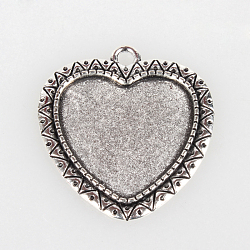 Supports de pendentif de cabochon en alliage de style tibétain vintage, argent antique, plateau de coeur: 25x23 mm; 36x33x2 mm, Trou: 3mm(X-TIBEP-O006-17AS)