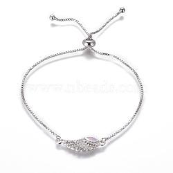 """Bracelets bolo réglables en laiton, Bracelets coulissants, chaînes de boîte, Avec de l'opale synthétique et de la zircone cubique, ailier, lilas, 9-3/4"""" (24.7 cm), 1mm(BJEW-L618-05P-A)"""