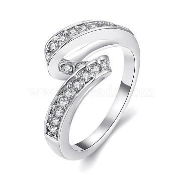 Graceful Brass Czech Rhinestone Finger Rings for Women, Platinum, Size 7, 17.3mm(RJEW-BB02158-7B)