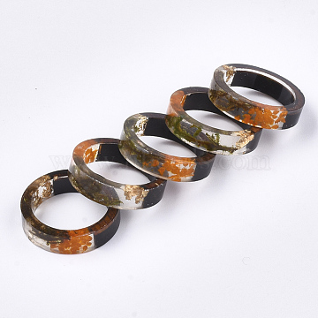 Epoxy Resin & Ebony Wood  Rings, with Dried Flower, Gold Foil, Olive, 17mm(RJEW-S043-01B-02)