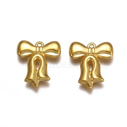 пластмассовые подвески ccb, бантом, золотой, 29.5x26x5.5 mm, отверстия: 1.6 mm(CCB-G014-04G)