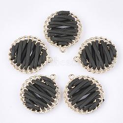 Pendentif tissé avec cordon imitation cuir, avec les accessoires en alliage, plat rond, or, darkslategray, 32x28.5x6~7mm, Trou: 1.8mm(X-FIND-S306-09C)