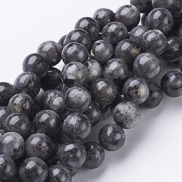 Natural Larvikite/Black Labradorite Beads Strands, Round, about 10mm, Hole: 1mm, about 40pcs/strand, 15.5 inches(X-GSR10mmC128)