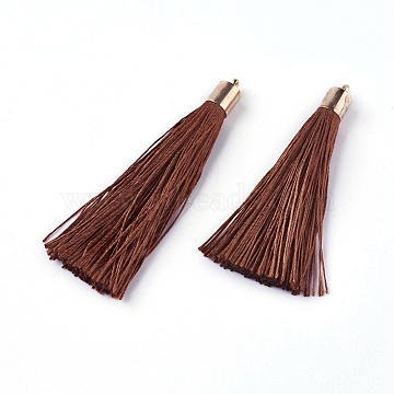 Polyester Tassel Big Pendant Decorations, with Alloy Finding, Golden, SaddleBrown, 60~65x7~25mm, Hole: 1.5mm(X-FIND-E018-D17)