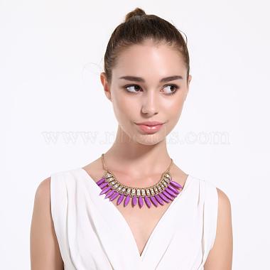 Plastic Imitation Turquoise Bib Statement Necklaces(NJEW-BB31290-D)-3