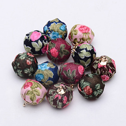 подвески из ткани ручной ткани, сплава с выводами, круглая с цветком, золотой, cmешанный цвет, 16~17x13.5~14 mm, отверстия: 1.5 mm(X-WOVE-S108-16)