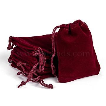 Rectangle Velvet Pouches, Gift Bags, Dark Red, 9x7cm(TP-R002-7x9-02)