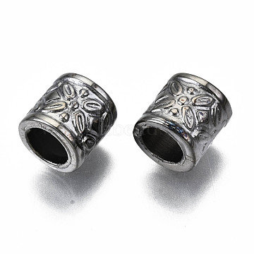 Antique Acrylic Beads, Large Hole Beads, Column with Flower Pattern, Gunmetal, 9x9mm, Hole: 6mm; about 1570pcs/500g(PACR-R218-33B)