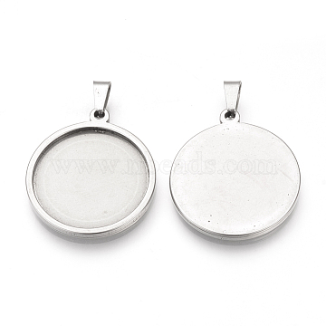 304 Stainless Steel Pendant Cabochon Settings, Flat Round, Stainless Steel Color, Tray: 35mm, 41x38x2mm, Hole: 8x4mm(X-STAS-S073-06P)