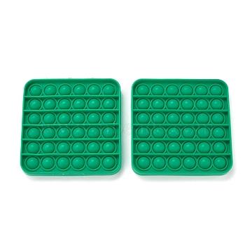 Silicone Push Pop Bubble Fidget Sensory Toy, Bubble Popper Fidget Toy, Stress Anxiety Relief Toys, Square, Green, 120x120x15mm(DIY-J004-F01)